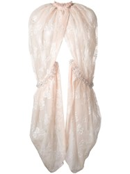 Simone Rocha Lace Embellished Cape Nude And Neutrals
