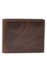 Fossil Men's 'Derrick' Rfid Leather Bifold Wallet Brown Dark Brown