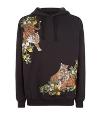 Dolce And Gabbana Tiger Embroidered Hoodie Male Black