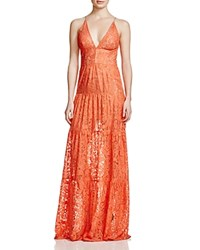 Dress The Population Melina Lace Maxi Dress Coral