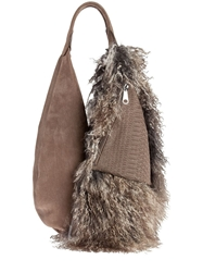 Vbh Snakeskin And Shearling Bag Grey