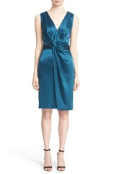 St. John Women's Collection Embellished Waist Liquid Satin V Neck Sheath Dress Tanzanite