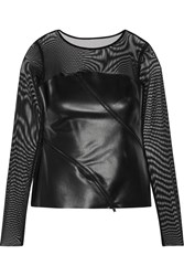 Bailey 44 Tulle And Faux Leather Top Black