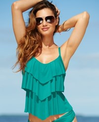 Kenneth Cole Reaction Tiered Ruffle Tankini Top Women's Swimsuit Teal