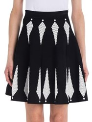 Alexander Mcqueen Two Tone Knit A Line Skirt Black Ivory