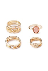 Forever 21 Opal Faux Stone Mixed Ring Set Gold Light Pink