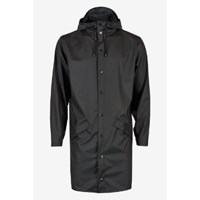 Rains Women's Black Long Hooded Mac