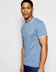 French Connection Plain Pique Tipped Polo Shirt Blue