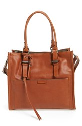 Treasure And Bond Utility Leather Satchel Brown Brown Saddle