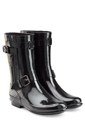 Burberry Shoes And Accessories Rubber Rain Boots With Check Panel Black