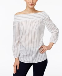 Michael Kors Striped Off The Shoulder Peasant Blouse Black