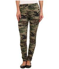 Plush Fleece Lined Camo Legging Green Women's Clothing