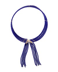 Fragments For Neiman Marcus Fragments Seed Bead Fringed Choker Necklace Blue