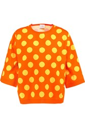 Stella Jean Polka Dot Cotton Sweater Orange