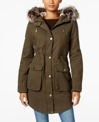 Bcbgeneration Faux Fur Trim Hooded Anorak Army Green