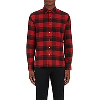 Barneys New York Men's Plaid Cotton Flannel Shirt Red