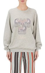 Chloe Women's Toucan Graphic Cotton Sweatshirt Light Grey