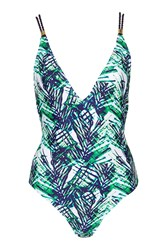 Topshop Tall Palm Print Twist Strap Swimsuit White