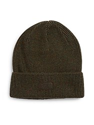 Penguin Cable Knit Beanie Silver Green