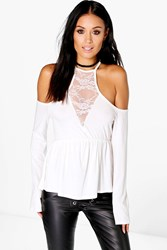 Boohoo Lace Cold Shoulder Flare Sleeve Crop Cream