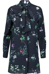 Iris And Ink Claudia Floral Print Pussy Bow Silk Georgette Blouse Navy