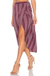 Band Of Gypsies Pin Stripe High Low Midi Skirt Burgundy