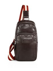 Bally Calf Leather Sling Backpack Chocolate