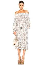 Zimmermann Pavilion Smock Scallop Dress In Neutrals Abstract