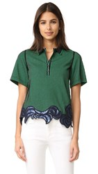 3.1 Phillip Lim Embroidered Polo Tee Green Black