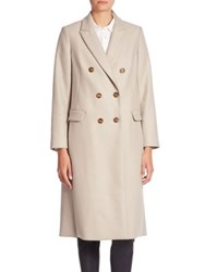Brunello Cucinelli Long Double Breasted Cashmere Coat Sea