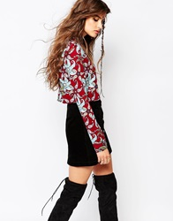 Native Rose Roll Neck Crop Top In Tiger Lily Print Multi