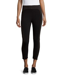 Neiman Marcus Mixed Media Ankle Crop Leggings Black