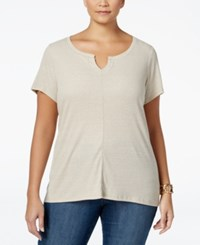 Styleandco. Style Co. Plus Size Split Neck T Shirt Only At Macy's Stone Wall