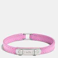 Coach Leather Swagger Bracelet Silver White