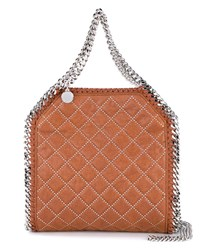 Stella Mccartney Mini Bella Quilted Faux Leather Bag Brown Silver