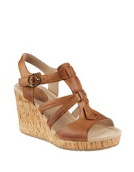 Sperry Dawn Day Leather Wedge Sandals Tan