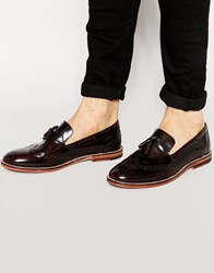 Asos Brogue Tassel Loafers In Burgundy Hi Shine Leather Red