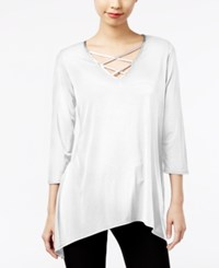 Ny Collection Asymmetrical Lace Up Top Winter White W Silver Trim