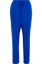 Mcq By Alexander Mcqueen Pleated Crepe Tapered Pants Cobalt Blue