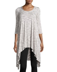 Max Studio Space Dye High Low Tunic Ivory Steel