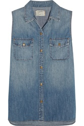 Current Elliott The Sleeveless Perfect Denim Shirt Blue