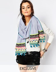 Blank Bl Nk Oversized Scarf With Multi Coloured Pom Poms In Blue Blue