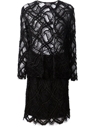 Chanel Vintage Crocheted Suit Black