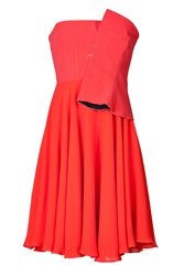 Marios Schwab Strapless Dress With Sculptural Bodice Red