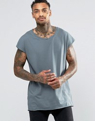 Asos Oversized Sleeveless T Shirt With Twisted Scoop Neck In Slate Murky Blue