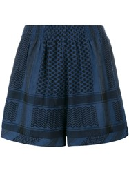 Cecilie Copenhagen Keffiyeh Printed Shorts Blue Black Navy Blue