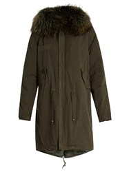 Mr And Mrs Italy Fur Lined Canvas Parka Dark Green