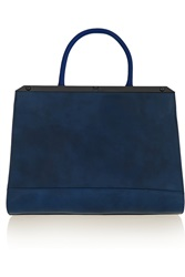 Halston Glossed And Textured Leather Tote Blue
