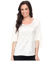Cruel Cotton Poly Top With 3 4 Fringe Sleeves Silver Metallic Screenprint White Women's T Shirt