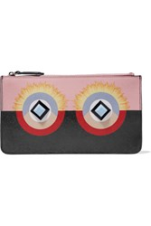Fendi Embellished Printed Textured Leather Wallet Black